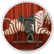 Original Zebra Carousel Ride Round Beach Towel