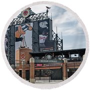 Oriole Park At Camden Yards Round Beach Towel by Susan Candelario