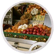 Work Hard And Be - Country Onion Cart Round Beach Towel