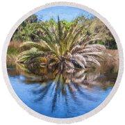 Ormond Scenic Loop Florida Palm Tree Painted  Round Beach Towel