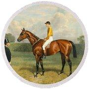 Ormonde Winner Of The 1886 Derby Round Beach Towel by Emil Adam