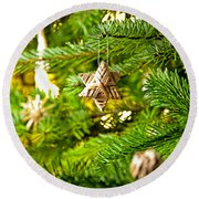 Ornament In A Christmas Tree Round Beach Towel