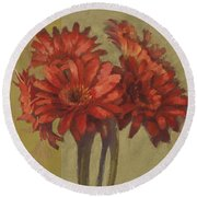 Ornamental Gerbers Round Beach Towel