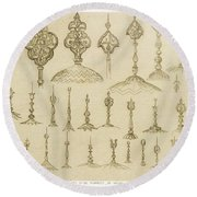 Ornamental Knobs Shaped As Domes Round Beach Towel