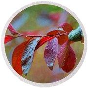 Ornamental Plum Tree Leaves With Raindrops - Digital Paint Round Beach Towel