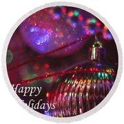 Ornaments-2054-happyholidays Round Beach Towel