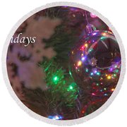 Ornaments-2096-happyholidays Round Beach Towel
