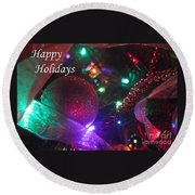 Ornaments-2130-happyholidays Round Beach Towel