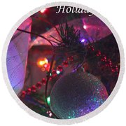 Ornaments-2136-happyholidays Round Beach Towel