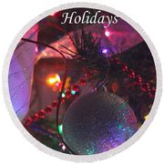 Ornaments-2143-happyholidays Round Beach Towel