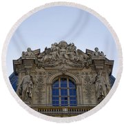 Ornate Architectural Artwork On The Musee Du Louvre Buildings In Paris France  Round Beach Towel