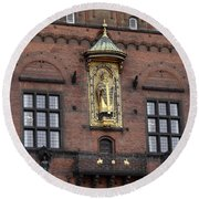 Ornate Building Artwork In Copenhagen Round Beach Towel
