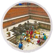 Ornate Fountains With Holy Water From The Bagmati River In Patan Durbar Square In Lalitpur-nepal   Round Beach Towel