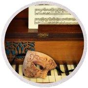 Ornate Mask On Piano Keys Round Beach Towel