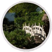 Ornate White Stone Bridge  Round Beach Towel