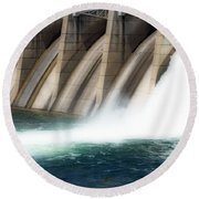 Oroville Dam Unleashed Round Beach Towel