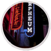 Orpheum And Cafe Crepe Round Beach Towel