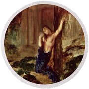 Orpheus At The Tomb Of Eurydice Round Beach Towel