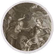 Orpheus, Leading Eurydice Out Of Hell Round Beach Towel