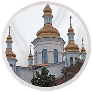 Orthodox Crosses Round Beach Towel