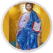 Orthodox Icon Of Jesus In Blue Round Beach Towel
