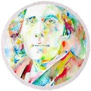 Oscar Wilde Watercolor Portrait.1 Round Beach Towel