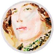 Oscar Wilde Watercolor Portrait.3 Round Beach Towel
