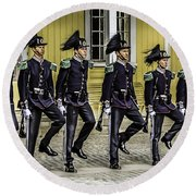 Oslo Royal Palace Guards Round Beach Towel