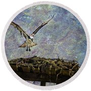 Osprey-coming Home Round Beach Towel