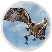Osprey In The Clouds Round Beach Towel