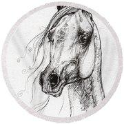 Ostragon Polish Arabian Horse 3 Round Beach Towel