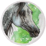 Ostragon Polish Arabian Horse Painting 1 Round Beach Towel