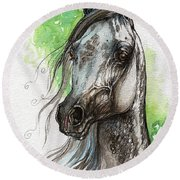 Ostragon Polish Arabian Horse Painting   Round Beach Towel