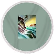 Othere Side Of Diamondhead Waikiki Hawaii Round Beach Towel