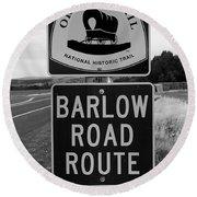 Barlow Road Cutoff Sign Round Beach Towel