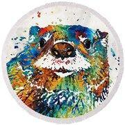 Otter Art - Ottertude - By Sharon Cummings Round Beach Towel