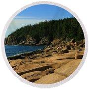 Otter Cliff Round Beach Towel