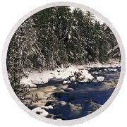 Ouareau River And Snow Covered Round Beach Towel