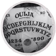 Ouija Board Queen Mary Ocean Liner Bw Round Beach Towel
