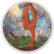 Our Dance With Nature Round Beach Towel
