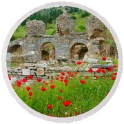 Our Entry Into Ephesus And Its Baths-turkey Round Beach Towel