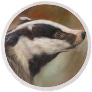 Our Friend The Badger Round Beach Towel
