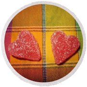 Our Hearts On The Table Round Beach Towel