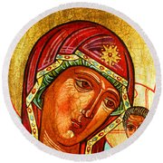 Our Lady Of Kazan Round Beach Towel