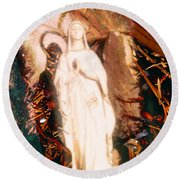 Our Lady Of Lourdes Round Beach Towel