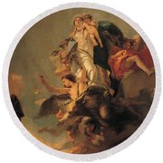 Our Lady Of Mount Carmel  Round Beach Towel