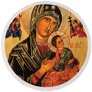 Our Lady Of Perpetual Help Icon II Round Beach Towel by Ryszard Sleczka