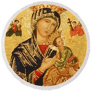 Our Lady Of Perpetual Help  Round Beach Towel