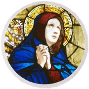 Our Lady Of Sorrows In Stained Glass Round Beach Towel