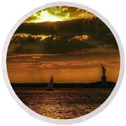 Our Lady Of The Harbor Round Beach Towel